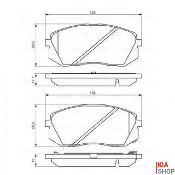 BOSCH  KIA Тормозные колодки передн.Carens III,Sportage,Hyundai ix35,55 05-