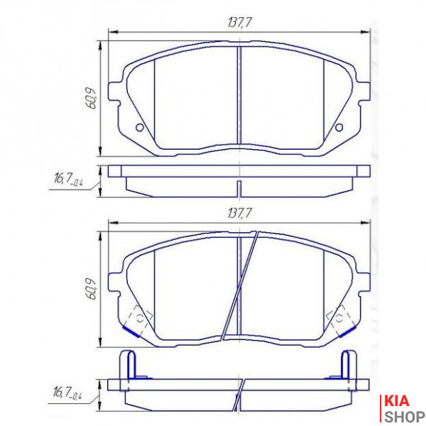Тормозные колодки передн.Kia Carens III,Sportage,ix35,55 05- DAFMI